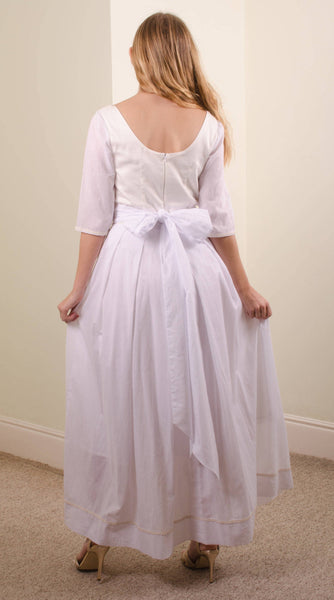 long organic cotton white dress, cotton wedding dress,