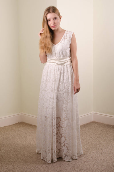 long cotton lace wedding dress 'Rose'