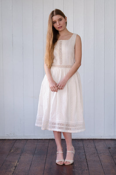 Embroidered organic cotton dress, eco wedding dress 'Jen'