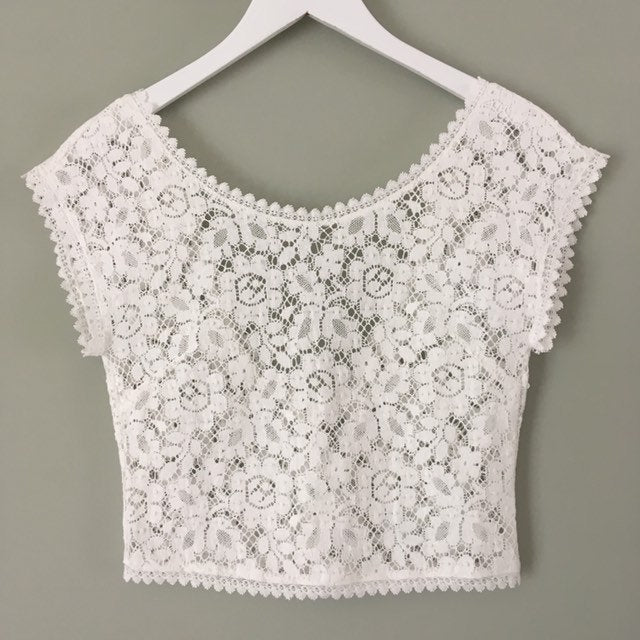 Bridal top, cotton lace button back off-white lace top 'Silvie'