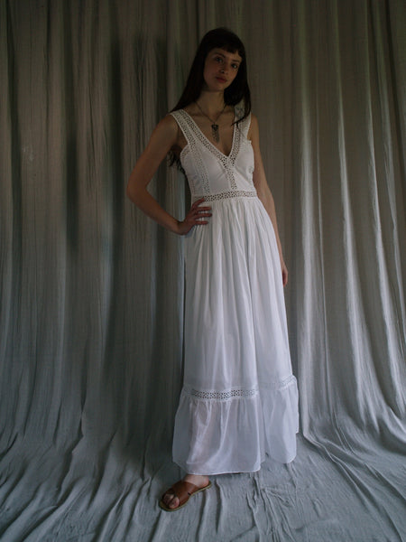 long white organic cotton dress 'Maddie'