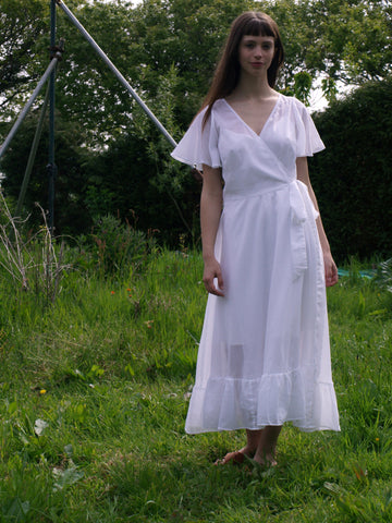 White organic cotton wrap dress