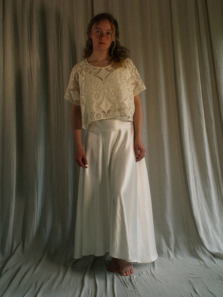 Lace top in unbleached cotton lace 'May' top