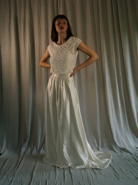 Bridal Skirt, Long skirt in Ivory hemp silk with trail 'Ellie'