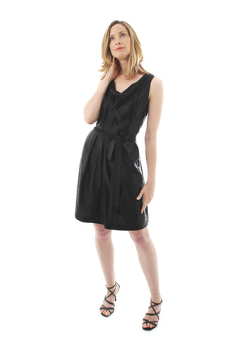 Black dress in hemp silk