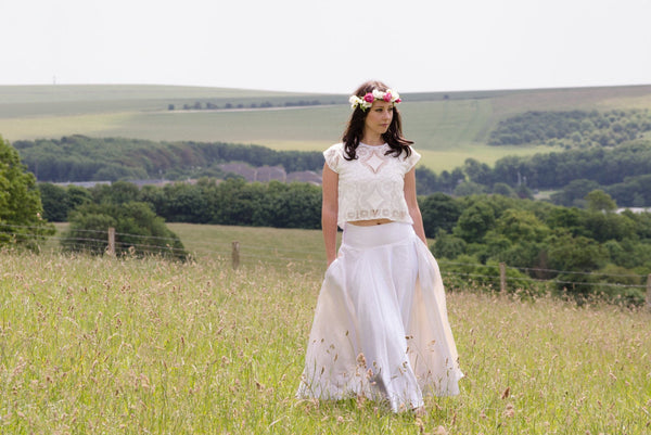 Bridal Skirt - Long skirt in Ivory hemp silk 'Jasmine'
