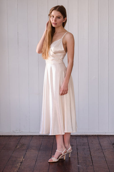 Ivory Hemp Silk Wrap Front Dress 'Freya'