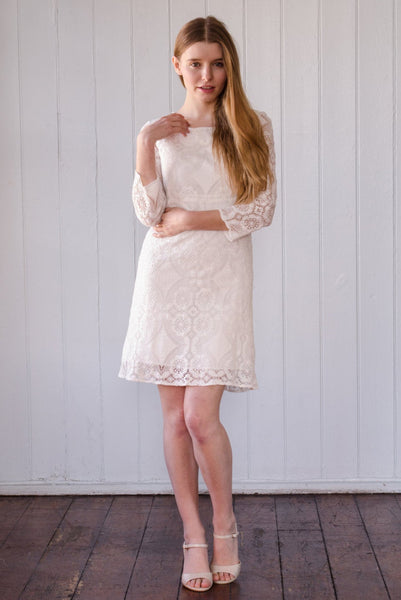 Little White Lace Dress 'Lizzie', short cotton lace wedding dress