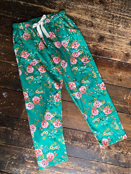Rose print organic cotton sateen pyjama trousers