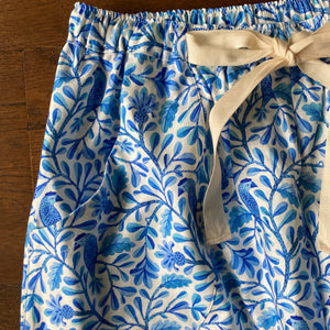 Blue bird print organic cotton pyjama trousers