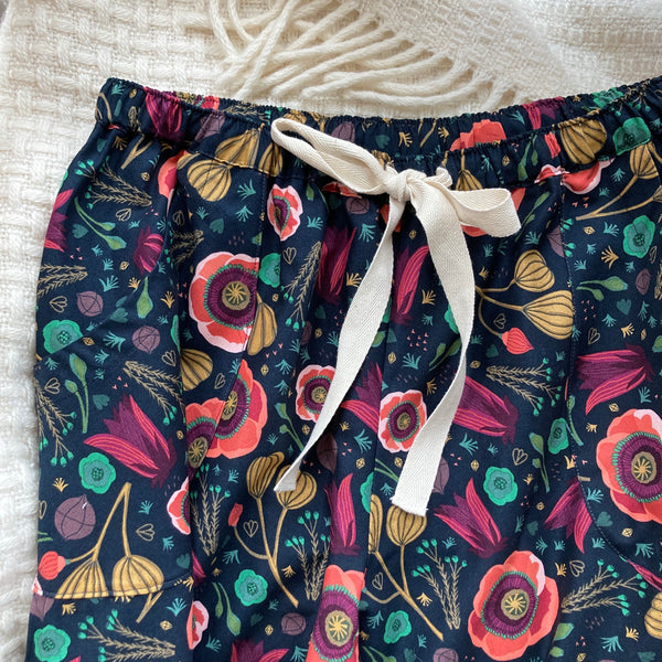 Poppy print organic cotton pyjama trousers
