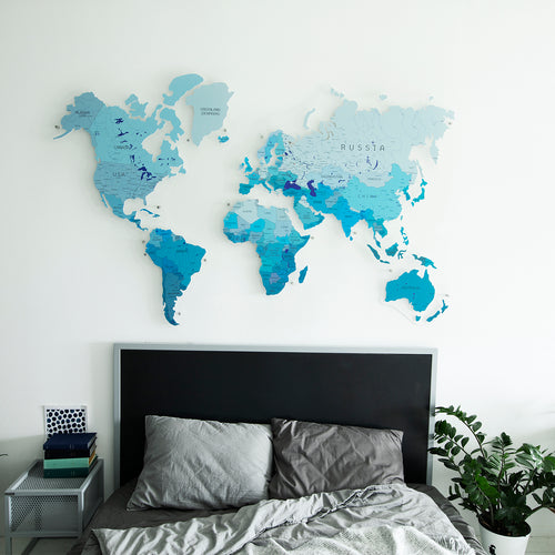 COLORFUL WORLD MAP (BLUE COLOR 4)