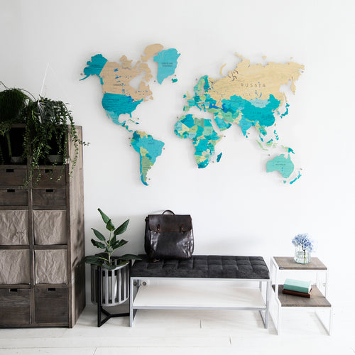 COLORFUL WORLD MAP (TEAL BLUE COLOR 7)
