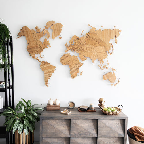 OAK TREE WOODEN WORLD MAP