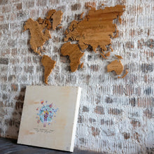 Load image into Gallery viewer, OAK TREE WOODEN WORLD MAP