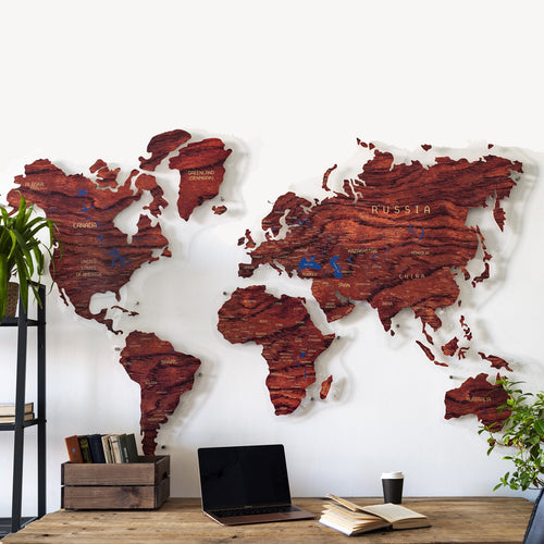WOODEN WORLD MAP (tulipwood)