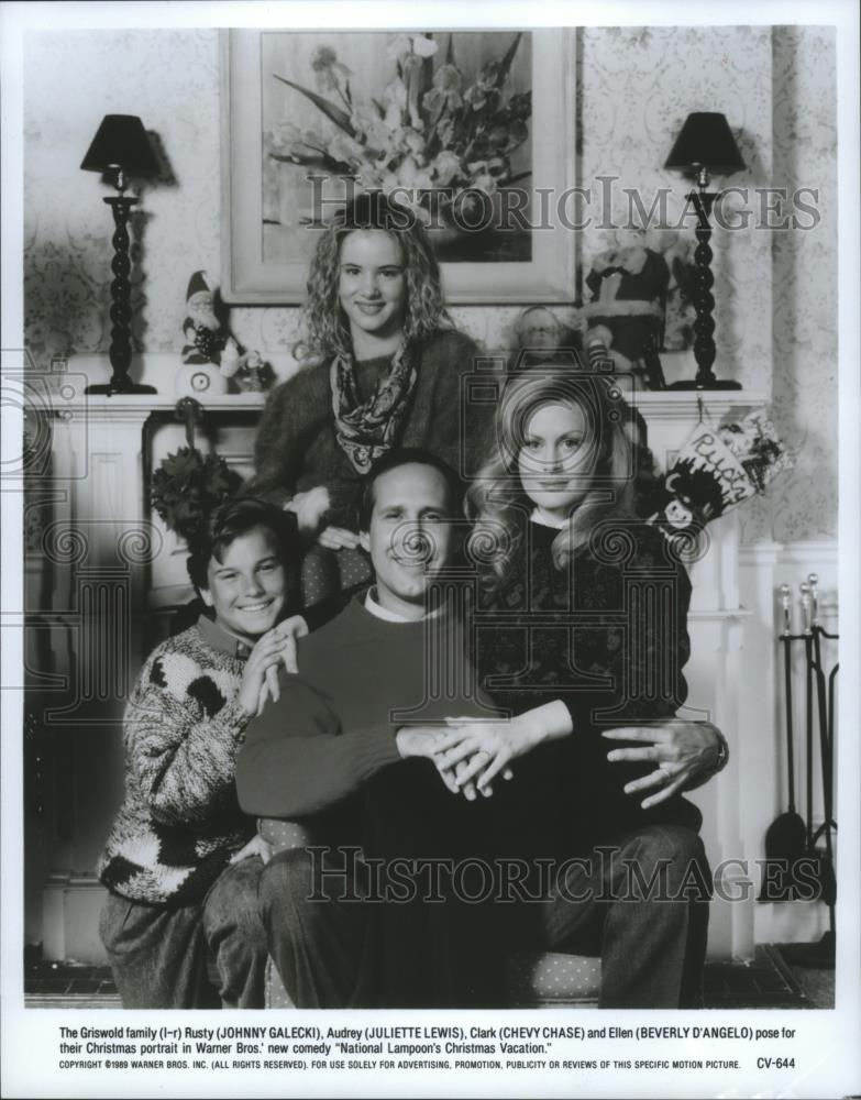 1989 press photo national lampoons christmas vacation cast with chevy chase historic images - National Lampoon Christmas Vacation Cast