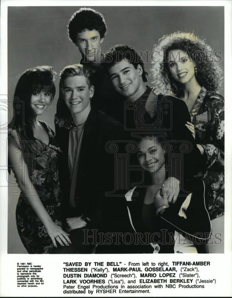 1991 Press Photo Lark Voorhies, Mario Lopez and cast of Saved by the Bell. - Historic Images