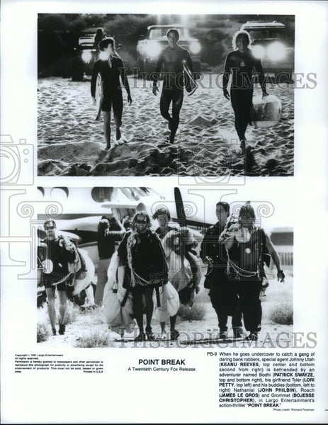 1991 Press Photo Keanu Reeves, Patrick Swayze & Lori Petty in Point Break. - Historic Images