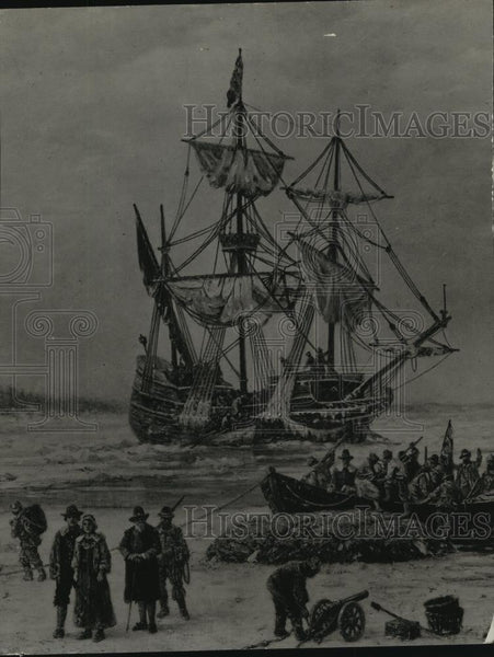 1929 Press Photo Painting of the ship Mayflower, carrying pilgrim fathers to US - Historic Images