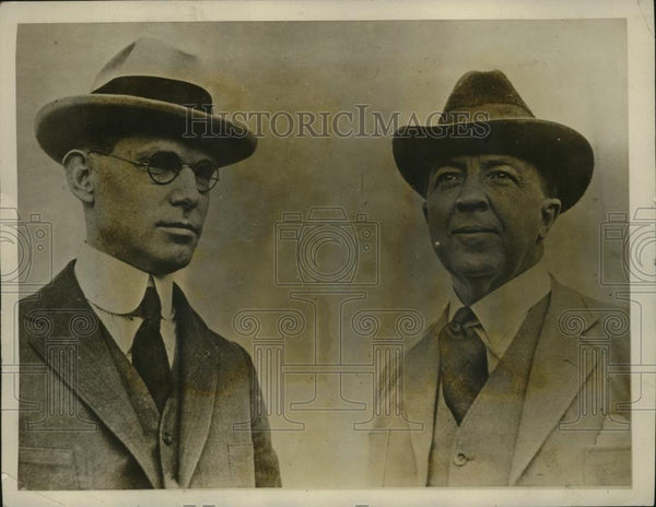 1923 Press Photo New York Dr. Edwin Larson and Major Rupert Hughes NYC - Historic Images