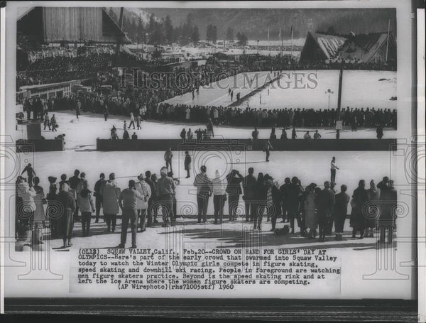 1960 Press Photo Crowd of spectators to watch Winter Olympic Games in California - Historic Images