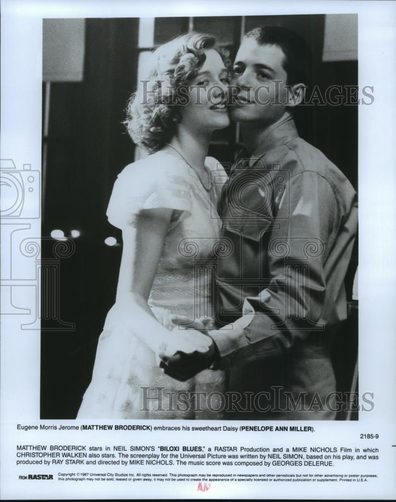 1987 Press Photo Matthew Broderick And Penelope Ann Miller In