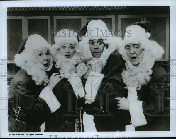 1990 Press Photo Vivian Vance, Lucille Ball & Desi Arnaz on I Love Lucy. - Historic Images