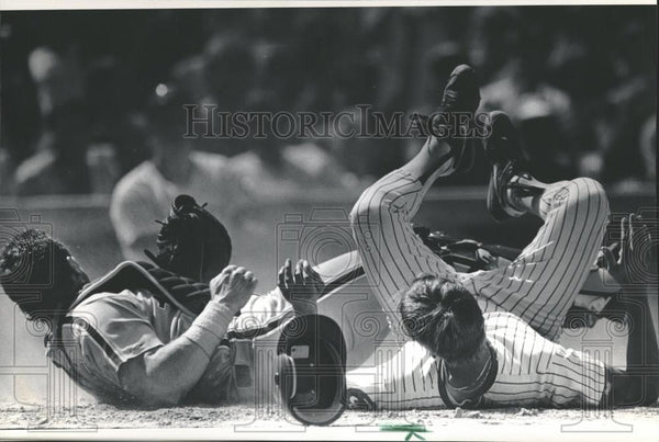 1988 Press Photo Phillies Lance Parrish Cubs Mark Grace - RRQ23567 - Historic Images