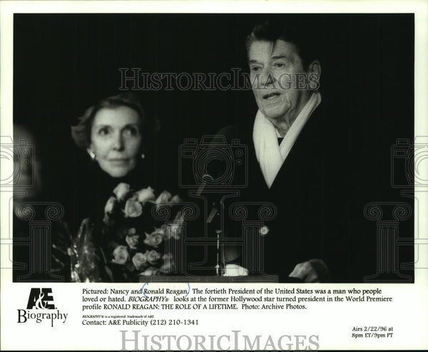 1996 Press Photo Nancy and Ronald Reagan A&E Biography - mjc06946 - Historic Images