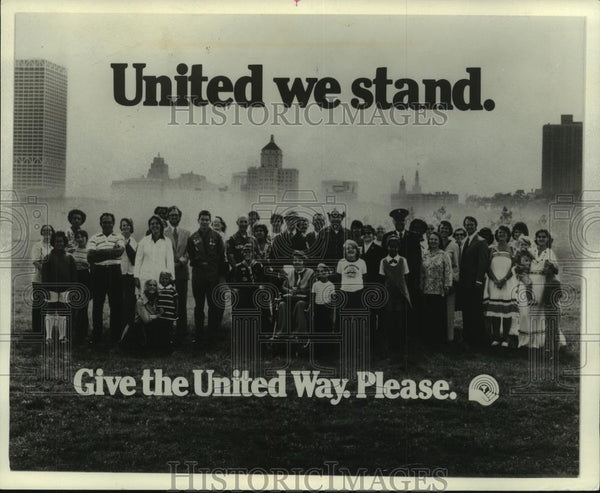 1977 Press Photo Theme Poster For 1977 United Way Campaign In Wisconsin - Historic Images