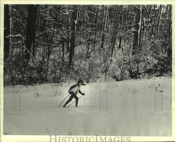 1982 Press Photo Linda Knurr skies in Minooka Park after snow storm in Wisconsin - Historic Images