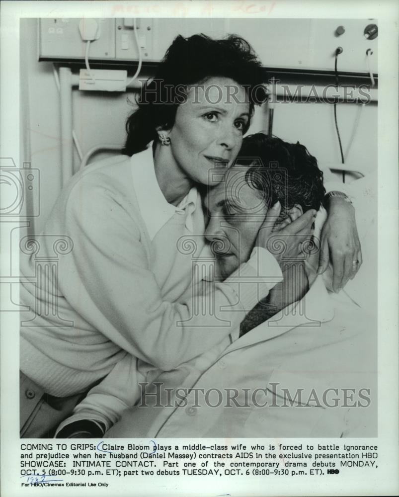"1990 Press Photo Claire Bloom and Daniel Massey in ""SHOWCASE: INTAMATE CONTACT."" - Historic Images"