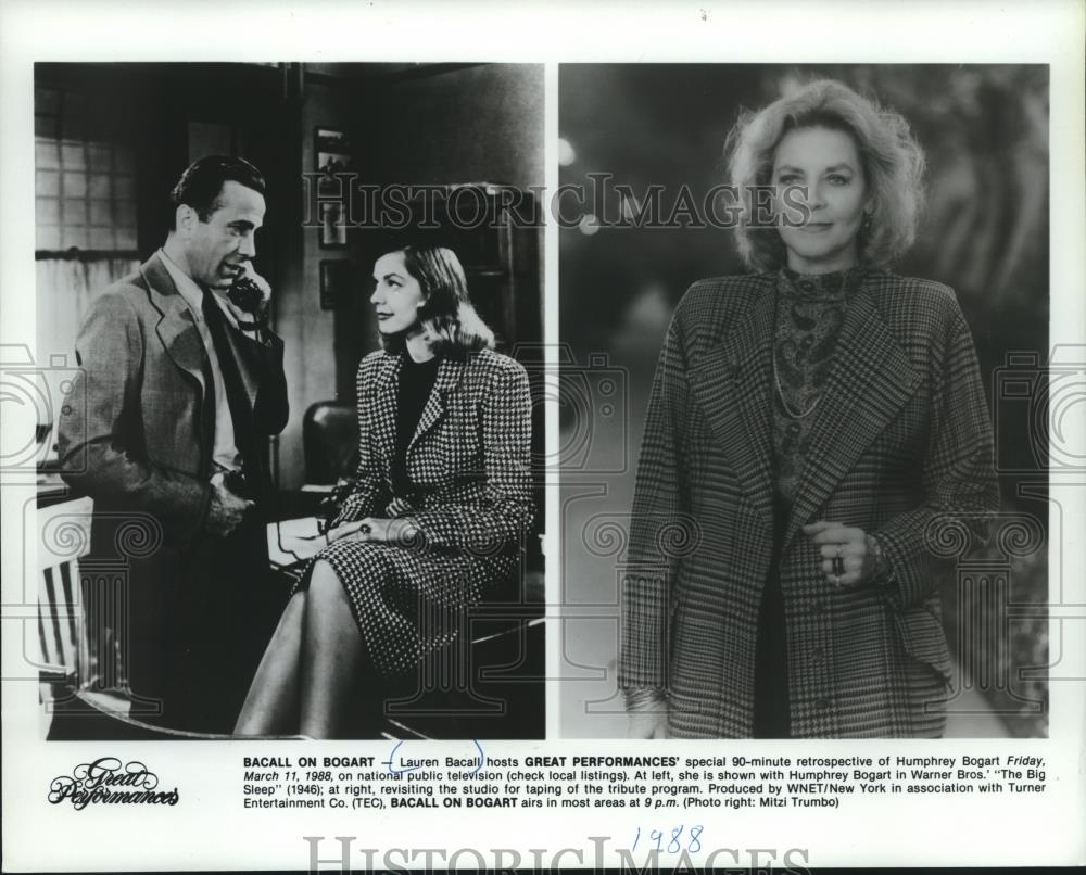 1988 Press Photo Lauren Bacall to host Great Performances' of Humphrey Bogart - Historic Images
