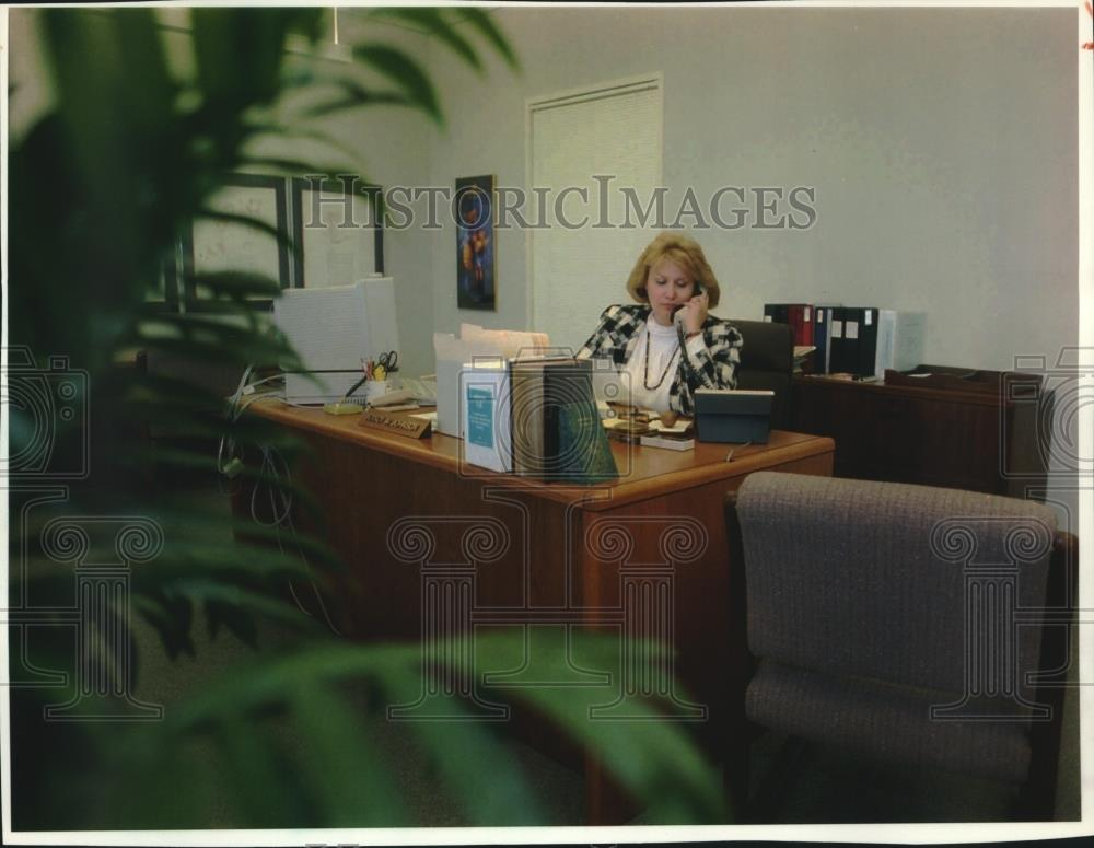 1994 Press Photo Nancy Johnson Working In Her Mutual Insurance Company Office - Historic Images