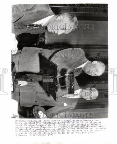 1954 Press Photo George Trautman Ford Frick Will Harrid - Historic Images