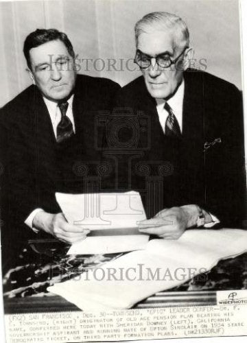 1935 Press Photo Sheridan Downey Dr. Frank E. Townsend - Historic Images