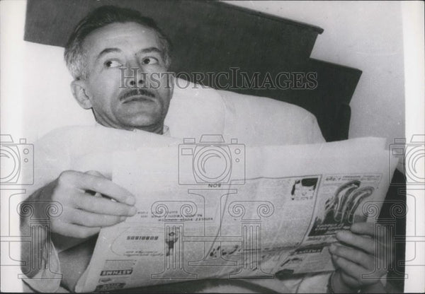 1953 Press Photo French explorer Michel Perrin goes on hunger strike at Lima - Historic Images