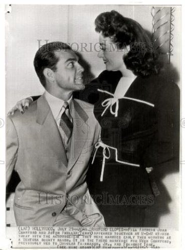 1942 Press Photo Joan Crawford Phillip Terry marriage - Historic Images