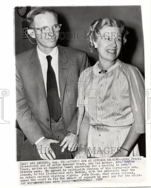 1957 Press Photo John Tracy Louise Tracy Divorce - Historic Images