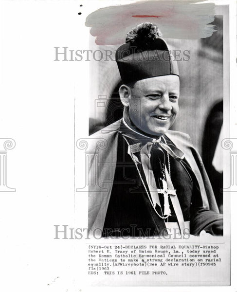1963 Press Photo Bishop Robert E. Tracy Vatican - Historic Images