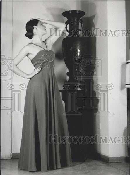 Press Photo Evening Dress, Fashion, Modeling, Greece - Historic Images