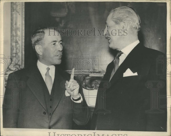 1955 Press Photo French foreign Minister,Antione Pinay & Harold MacMillan - Historic Images