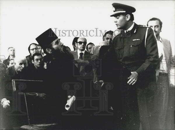 Press Photo Monk Nestoras Questioned By National Gendarmery In Court, Athens - Historic Images