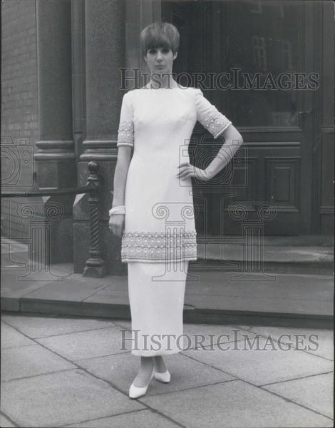 Press Photo Evening dress with Byzantine embroidery,Spring styles by Mattli - Historic Images