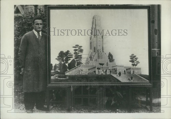 1941 Press Photo Don Bosco with a Painting of Miyazaki Temple - Historic Images