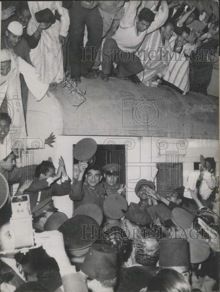 "1953 Press Photo General Naguib Welcomed in Cairo on the ""Mercy Train"" - Historic Images"