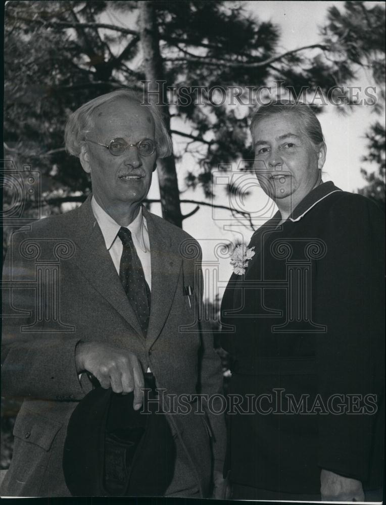 1953 Press Photo Professor Auguste Piccard and wife, Mary - Historic Images
