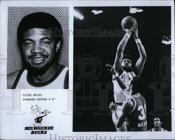 Press Photo Clyde Mayes Forward Center Milwaukee Bucks Basketball Player NBA - Historic Images