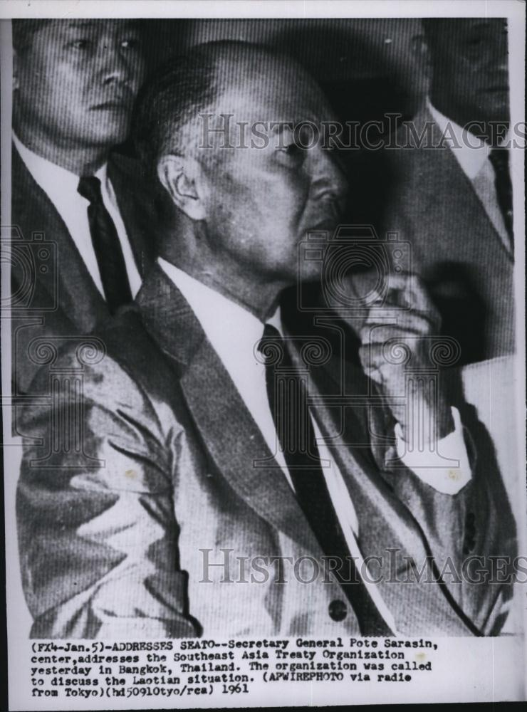 1961 Press Photo Secretary Pote Sarasin Asia Treaty Organization Thailand - Historic Images